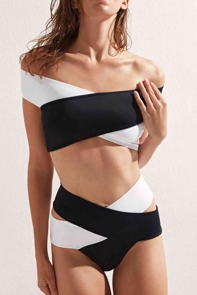 Angelsin Siyah Beyaz Çapraz Bikini Takım