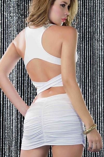 Merry See Beyaz Arkası Çapraz Şık Elbise