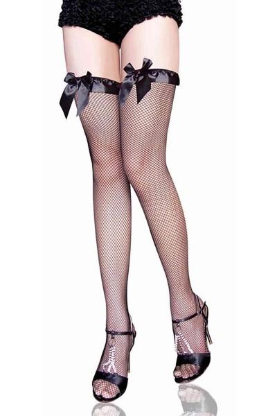 Merry See Özel Tasarım File Jartiyer Çorabı Siyah
